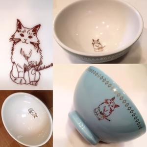 ちよ猫お茶碗とお箸のセット(お箸2膳付)