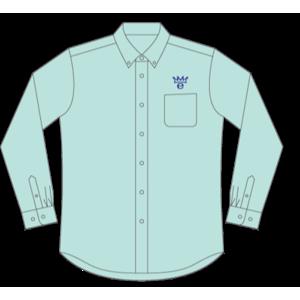 真野恵里菜 ボタンダウンシャツ ブルー