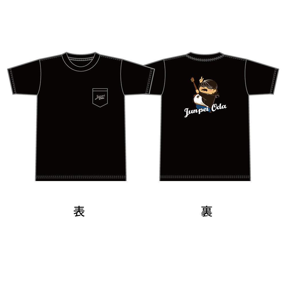 小田純平フルカラーバックイラストTシャツ (ポケット付き)ブラック or ネイビー