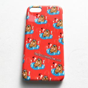 サラブレッドLOVE スマホケース(iPhone7/8対応サイズ) ハードカバー〈温泉〉