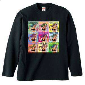 ポニテガール ロングスリーブTシャツ / ブラック