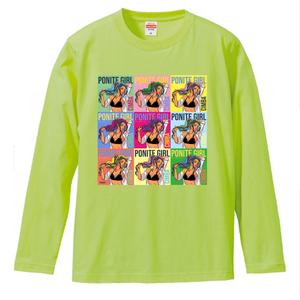 ポニテガール ロングスリーブTシャツ / ライムグリーン