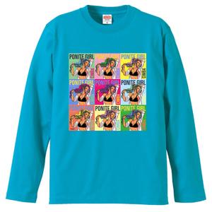 ポニテガール ロングスリーブTシャツ / ターコイズブルー