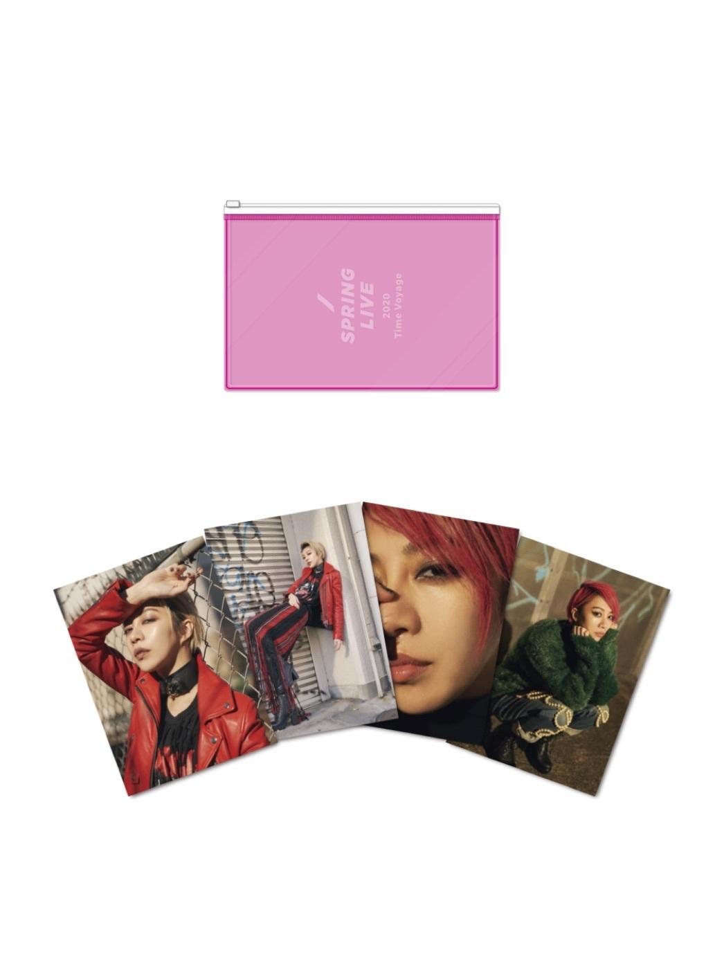 ポストカード4枚セット(ポーチ付き・蛍光ピンク)