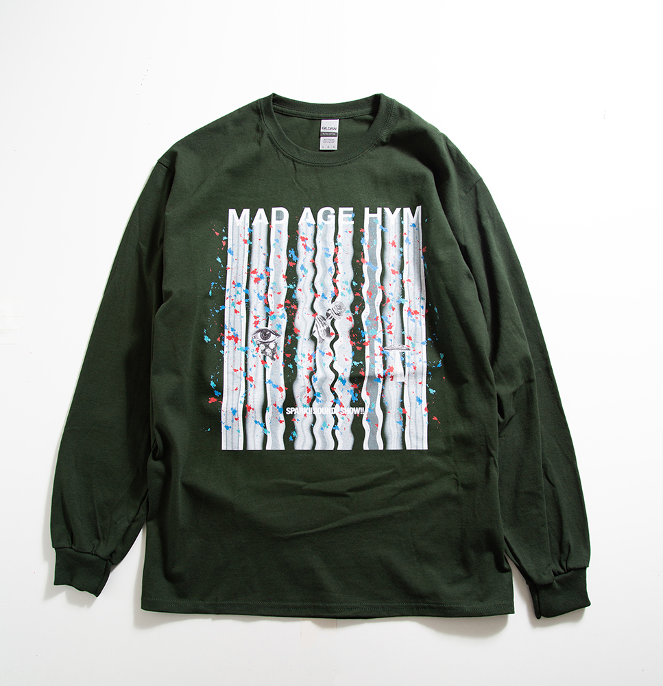 MAD PAINT Long Sleeve TEE(Dark Green)