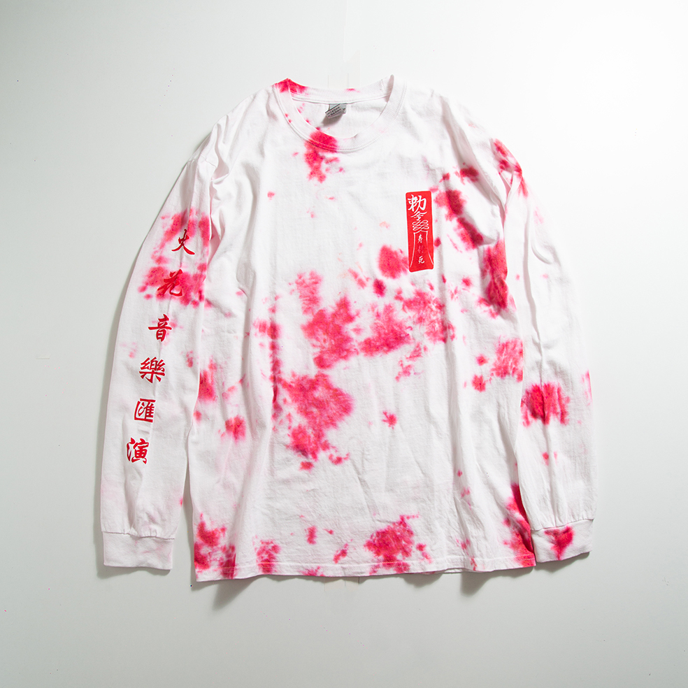 キョンシー Long Sleeve TEE(White×Red 手染めRed)